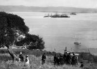 Goat Island picnic viewing East Bay  c1885