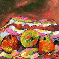 Apples on Cloth Oil Painting by Ginette Callaway