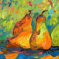 Pears Provencale Oil Painting by Ginette Callaway