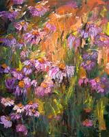 Echinecea Purple Coneflower Oil Painting Ginette