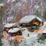 """Cabins in The Snow Oil painting by Ginette"" by GinetteCallaway"