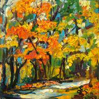 Autumn Colors Forest Landscape Oil Painting by Gin