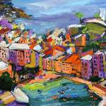 """Vernazza Cinque Terre Italy Oil Painting by Ginett"" by GinetteCallaway"