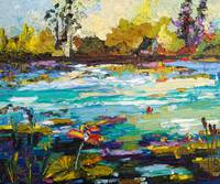 Wetlands Oil Paintign by Ginette Callaway
