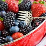 """Bowl of Mixed Summer Berries with Antique Strawber"" by LynneDaley"