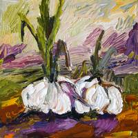 Wonderful Garlic Oil Painting by Ginette Callaway