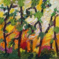 Heat Rising Between The Pines Oil By Ginette