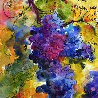 """Blue Grapes Watercolor by Ginette Callaway"" by GinetteCallaway"