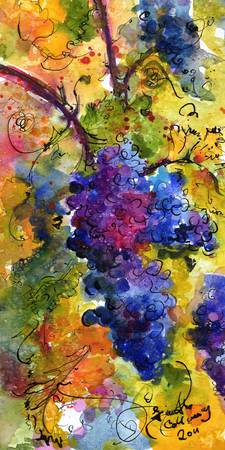 Blue Grapes Watercolor by Ginette Callaway
