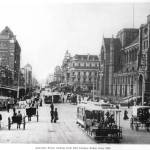 """HM0363 Swanston St. from Flinders St. circa 1900"" by nevilleprosser"