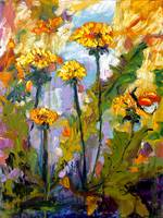 Dandelions & Butterflies Oil Painting by Ginette