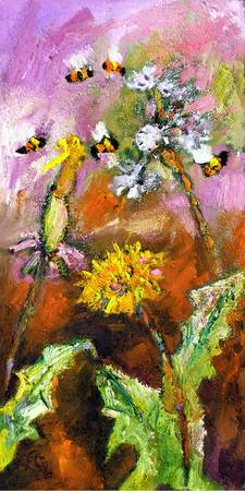 Dandelions & Bees Oil Painting by Ginette