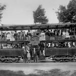 """Double Deck Streetcar, Lake Merritt, Oakland, c. 1"" by worldwidearchive"