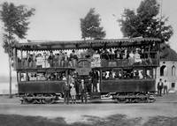 Double Deck Streetcar, Lake Merritt, Oakland, c. 1 by WorldWide Archive