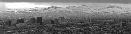 Downtown El Paso with Snow - B/W