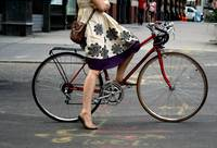 Woman on bicycle, East Village
