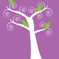 5 green birds in a white tree purple Art Prints & Posters by Valerie Waters