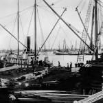 """""""Ships Loading Lumber, Oakland Estuary c. 1860"""" by worldwidearchive"""
