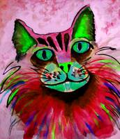 WATERCOLOR Kitty-pink