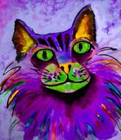 WATERCOLOR KITTY-purple
