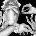 """Hands Drawing (MC ESCHER inspiration piece)"" by NadiaAbuhakmeh"