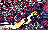 Woman in Blanket of Red and Blue