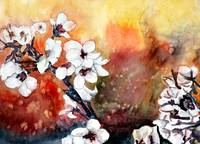 modern abstract Asian flower painting