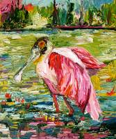 Roseate Spoonbill Oil Painting by Ginette Callaway