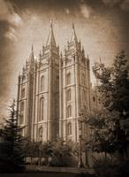 salt lake temple front hdr textured sepia