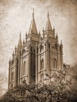 Salt lake temple HDR with texture sepia