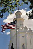 st george temple and american flag blows