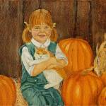 """Girl with Kitten and Pumpkins Painting"" by catnip009"