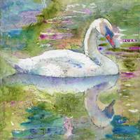 Swan Song, Watercolor Painting Art