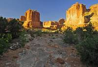 Sunrise on Park Avenue in Arches National Park