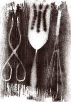 kitchen utensils, sepia