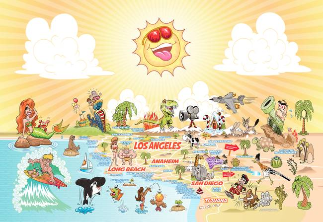 Cartoon Map of California with text by Dave Stephens – Tourist Attractions Map In Southern California