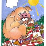 """fat pig"" by Rachelpeglerartworks"