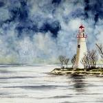 """Marblehead Lighthouse (Winter Scene)"" by vigliotti"