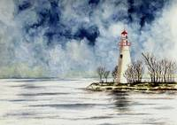 Marblehead Lighthouse (Winter Scene)