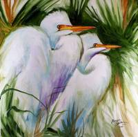 WHITE EGRET PAIR ABSTRACT M BALDWIN ORIG OIL 2020