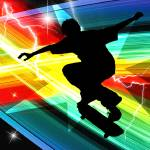 """Skateboarder in Criss Cross Lightning"" by ElainePlesser"