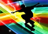 Skateboarder in Criss Cross Lightning