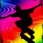 """Skateboarding on Rainbow Grunge Background"" by ElainePlesser"
