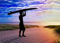 Sunset Surfer Sand and Clouds Art