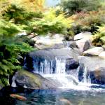 """""""Garden Waterfall with Koi Pond Final"""" by ElainePlesser"""