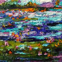 Night Pond Oil Painting by GInette