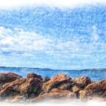 """rocks ocean and sky"" by b-rent"