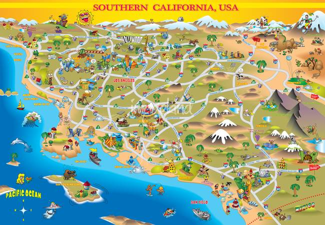 caricaturess Stunning Artwork For Sale on Fine Art Prints – Southern California Tourist Attractions Map