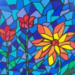"""stained glass flowers"" by friddleart"