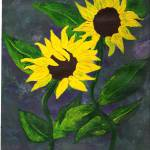 """Sunflowers on Blue"" by ConnieCapone"